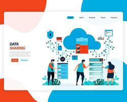 Cloud data sharing technology, remote workers vector