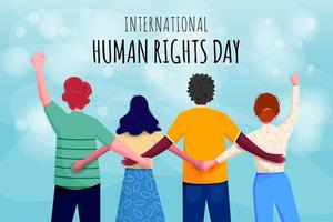 International Human Rights Day Poster with Connected People