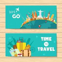 Travel banners with landmarks and supplies