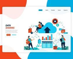 Data sharing technology 4.0 design vector