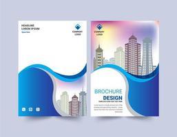 plantilla de diseño de folleto de diseño de onda azul vector