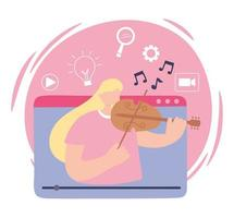 Girl playing playing violin and recording online vector