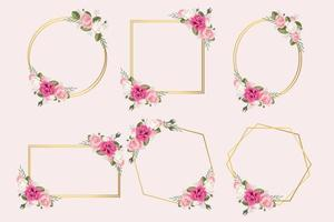 Collection of GOld Geometric Floral Frames vector