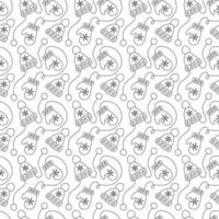 Monoline Christmas seamless pattern with mittens and winter hats
