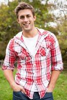 Attractive young man outdoors photo
