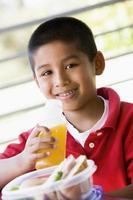 Boy eating lunch