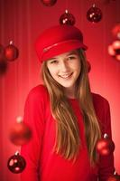 Portrait of Young Girl in Red with Christmas Theme Vt