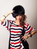 pretty girl in fur hat