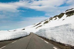 Empty asphalt road with huge snow borders, Norway photo