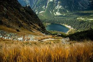 scenery of high mountain with lake and high peak photo