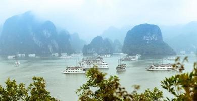 Scenic top view of Halong Bay in Vietnam. photo