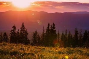 Beautiful sunset in the Carpathian Mountains Ukraine. photo