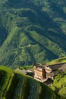 Landscape rice terraces and village in china