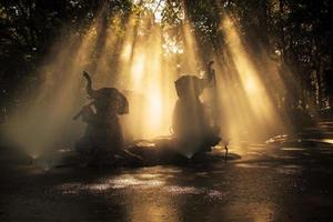 Statues of elephants playing in the sun. photo