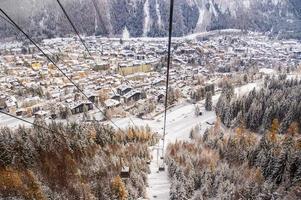 Overlook Chamonix town in winter photo