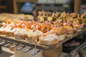 Spanish mixed tapas, Basque cuisine, pintxos Bilbao, Spain. photo