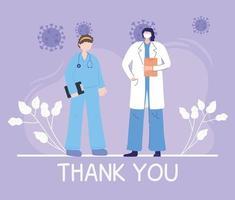 saludo y composición de agradecimiento para los trabajadores sanitarios vector