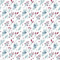 Christmas seamless pattern of red berries, pine branches