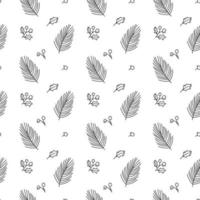 Christmas minimalist seamless pattern with leaves