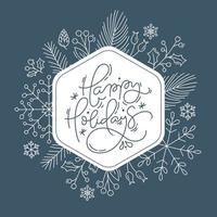 Happy Holidays text frame with line style foliage
