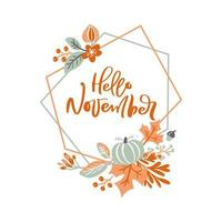 Hello November geometric frame with autumn foliage