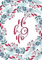 Ho ho ho calligraphy with foliage and berry frame