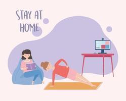 mujeres jóvenes en cuarentena en casa
