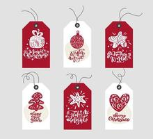Red and white Christmas gift tags with calligraphy
