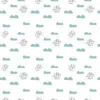 Scandinavian seamless pattern with clouds and rain