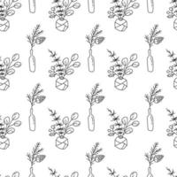 Christmas monoline seamless pattern with plants in bottles