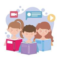 Young people with books, and video icons