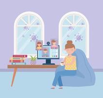 mujer joven en una reunión en línea vector