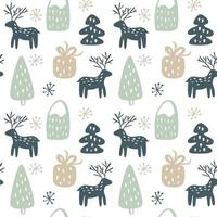 Christmas seamless hand drawn pattern with deer, gift, tree