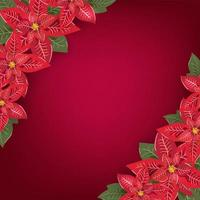Red Christmas greeting card with poinsettia corners