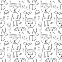 Seamless hand drawn line style fox and rainbows pattern
