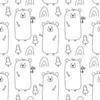 Seamless line style bears forest pattern