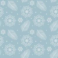 Christmas leaves, snowflakes monoline seamless pattern