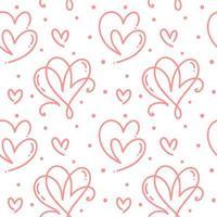lindo, monoline, corazones, seamless, patrón