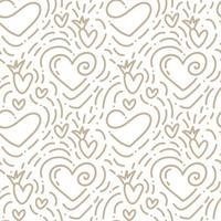 Hand drawn monoline Valentine's mug, heart and love pattern vector