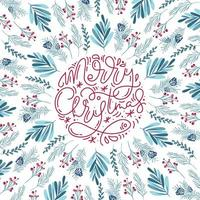 Merry Christmas monoline calligraphy and floral elements