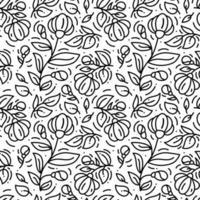 Floral monoline seamless pattern