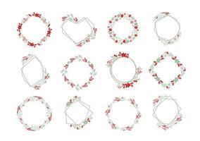 Set of Christmas flower frames vector
