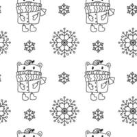 Seamless pattern with snowflakes, bears in hat and scarf