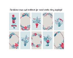 Plantillas de redes sociales navideñas con ramas, regalos, flores.