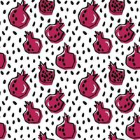 Hand drawn fresh pomegranate seamless pattern vector
