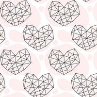 Hand drawn geometric heart doodle seamless pattern vector