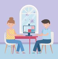 Young couple quarantined at home vector
