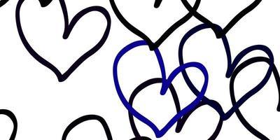 pano de fundo preto e azul dos corações doces