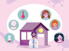 banner de concepto de visita médica en línea vector