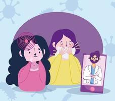 chicas enfermas viendo al doctor online vector